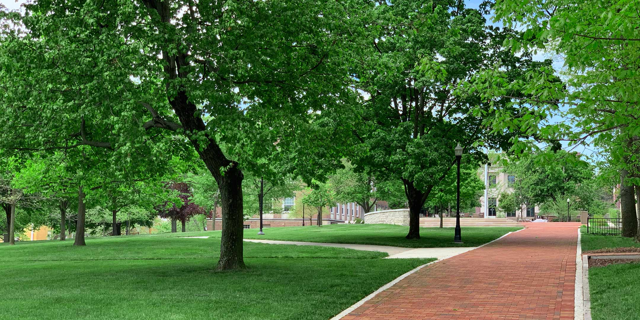 A view of Denison's Academic Quad looking west
